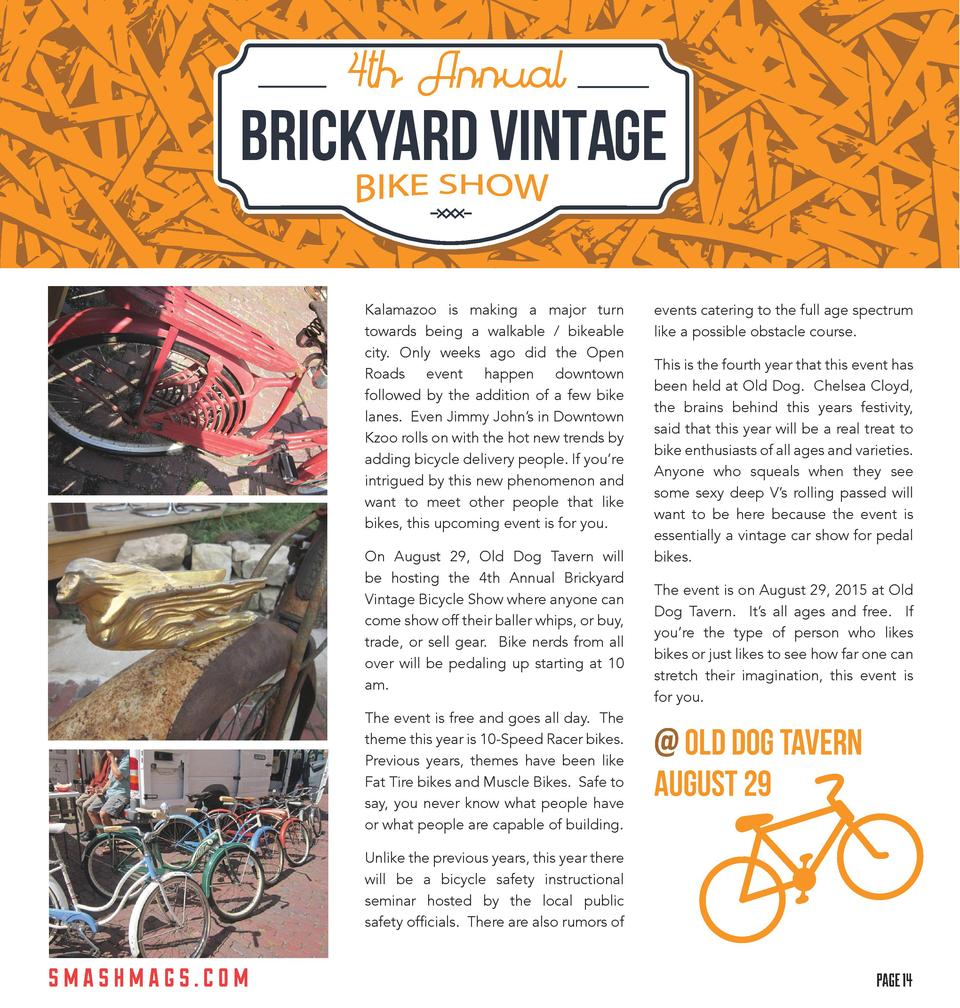 4th Annual  BRICKYARD VINTAGE Kalamazoo is making a major turn towards being a walkable   bikeable city. Only weeks ago di...
