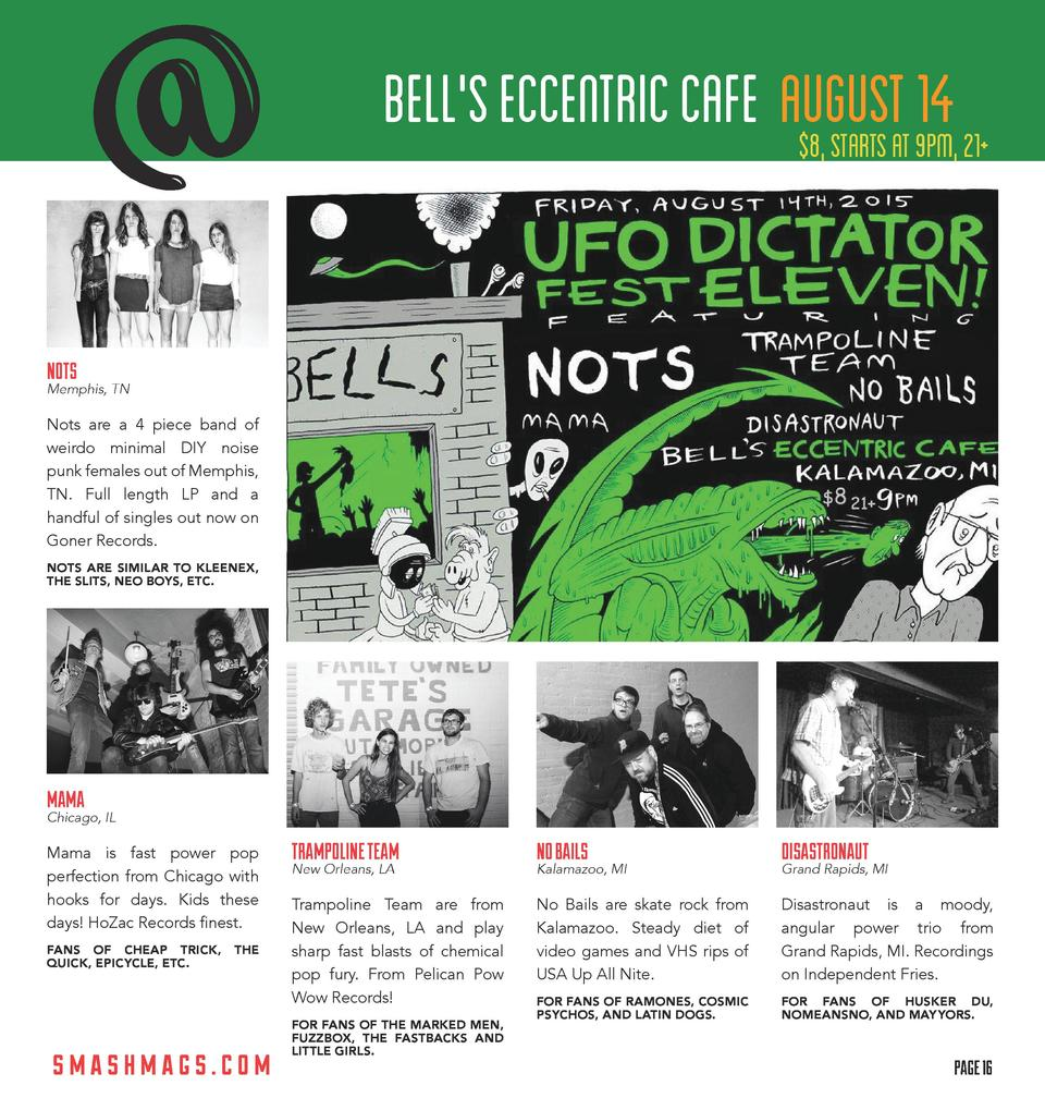 BELL S ECCENTRIC CAFE AUGUSTAT 9PM, 21  14  8, STARTS  NOTS  Memphis, TN  Nots are a 4 piece band of weirdo minimal DIY no...