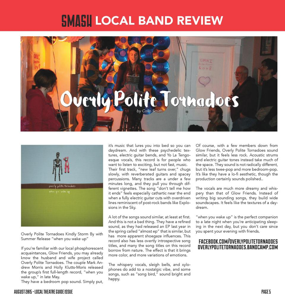 LOCAL BAND REVIEW  Overly Polite Tornadoes by Colin Smith  it   s music that lures you into bed so you can daydream. And w...