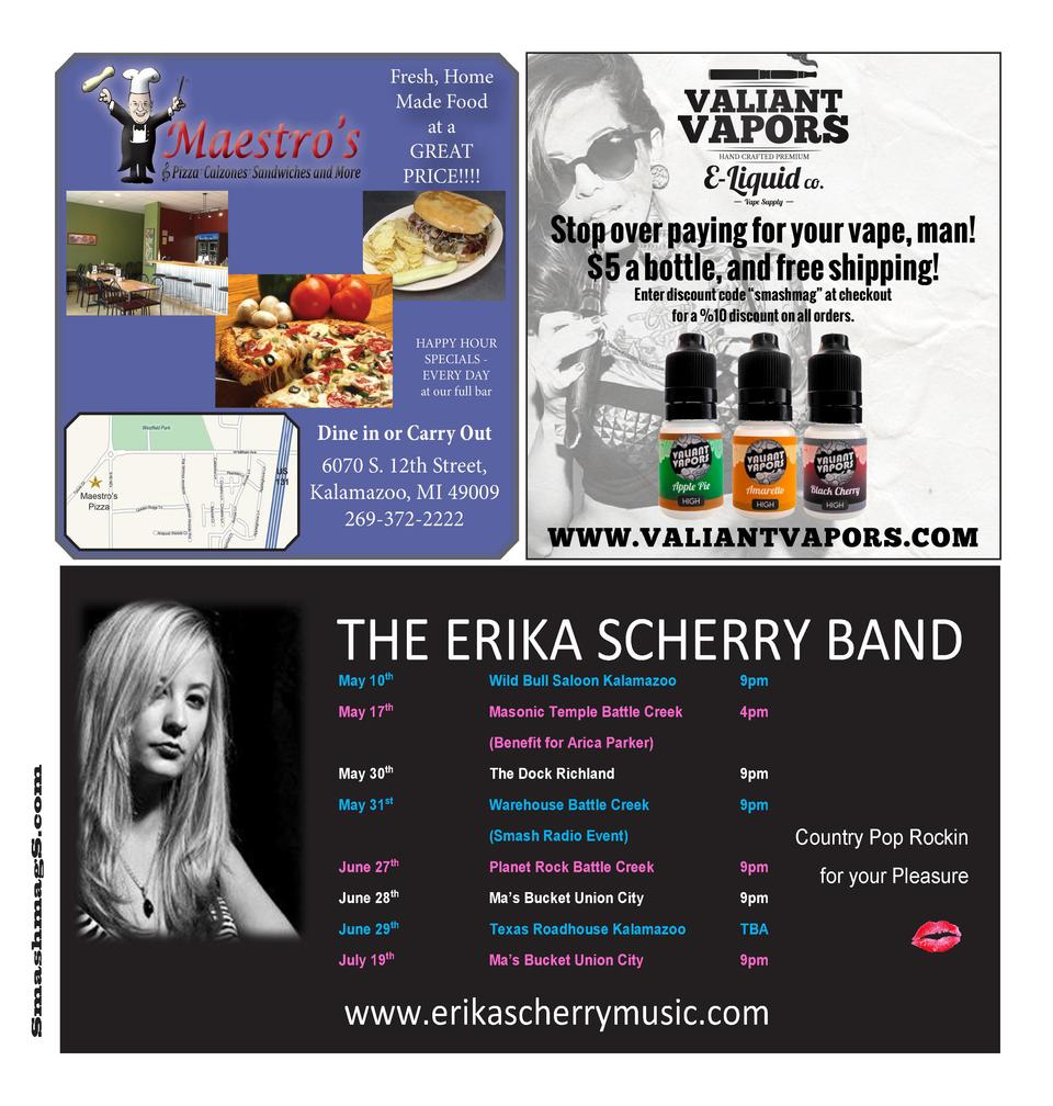 THE ERIKA SCHERRY BAND May 10th  Wild Bull Saloon Kalamazoo  9pm  May 17th  Masonic Temple Battle Creek  4pm  SmashmagS.co...