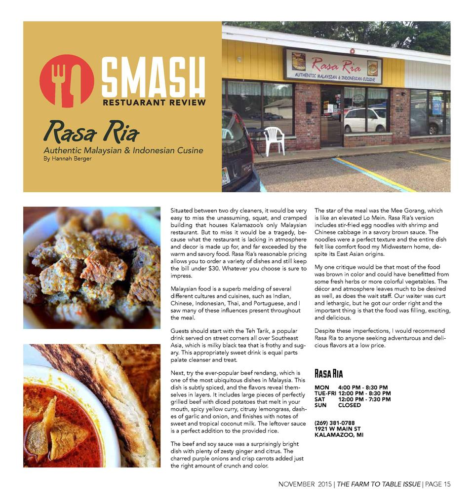 Rasa Ria  Authentic Malaysian   Indonesian Cusine By Hannah Berger  Situated between two dry cleaners, it would be very ea...