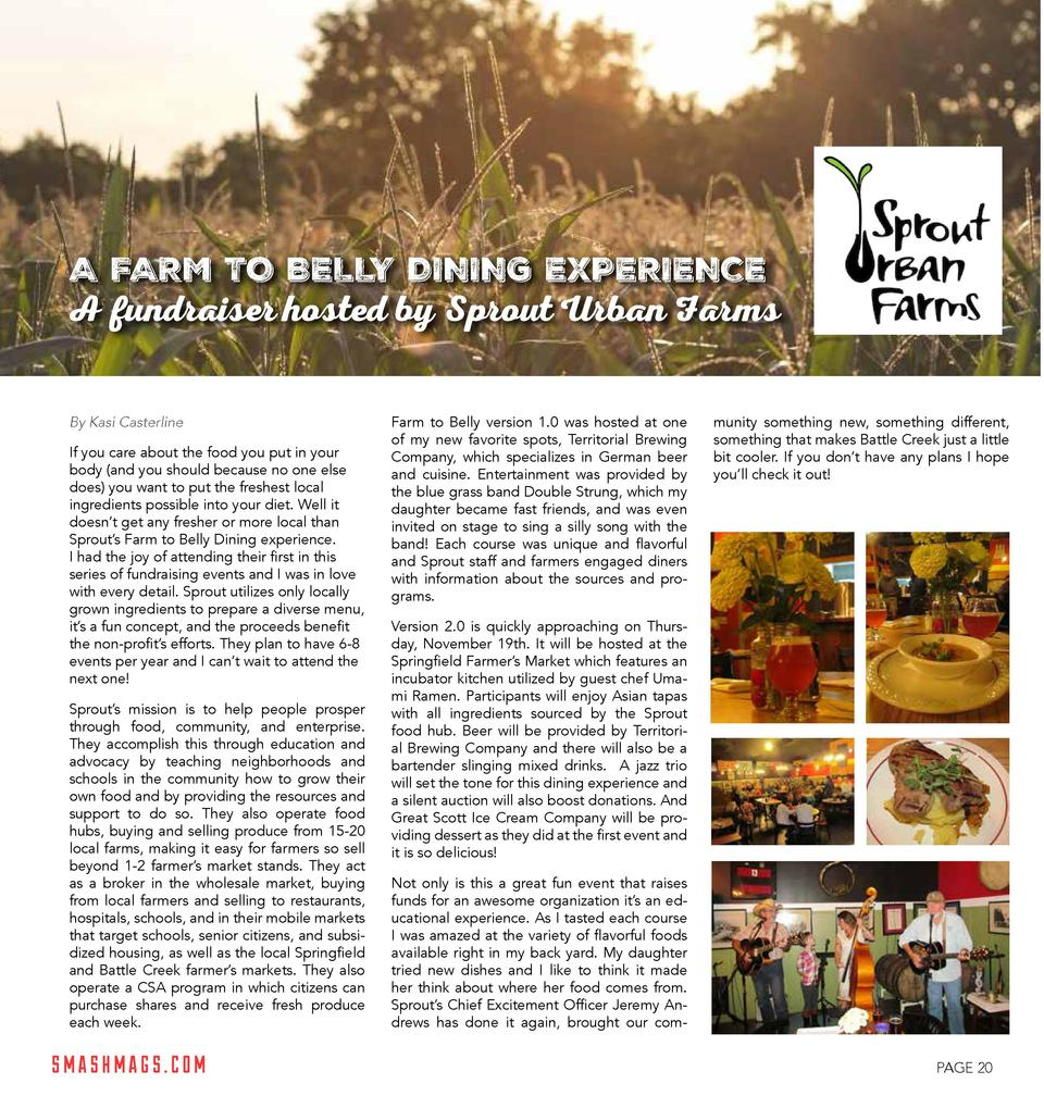 A FARM TO BELLY DINING EXPERIENCE  A fundraiser hosted by Sprout Urban Farms By Kasi Casterline If you care about the food...