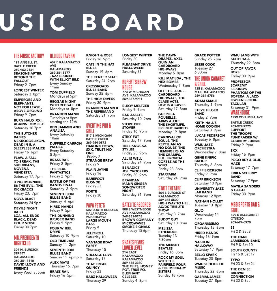 USIC BOARD THE MUSIC FACTORY OLD DOG TAVERN 191 ANGELL ST. BATTLE CREEK 269-962-2121  SEASONS AFTER, BEYOND THE FALLOUT  F...