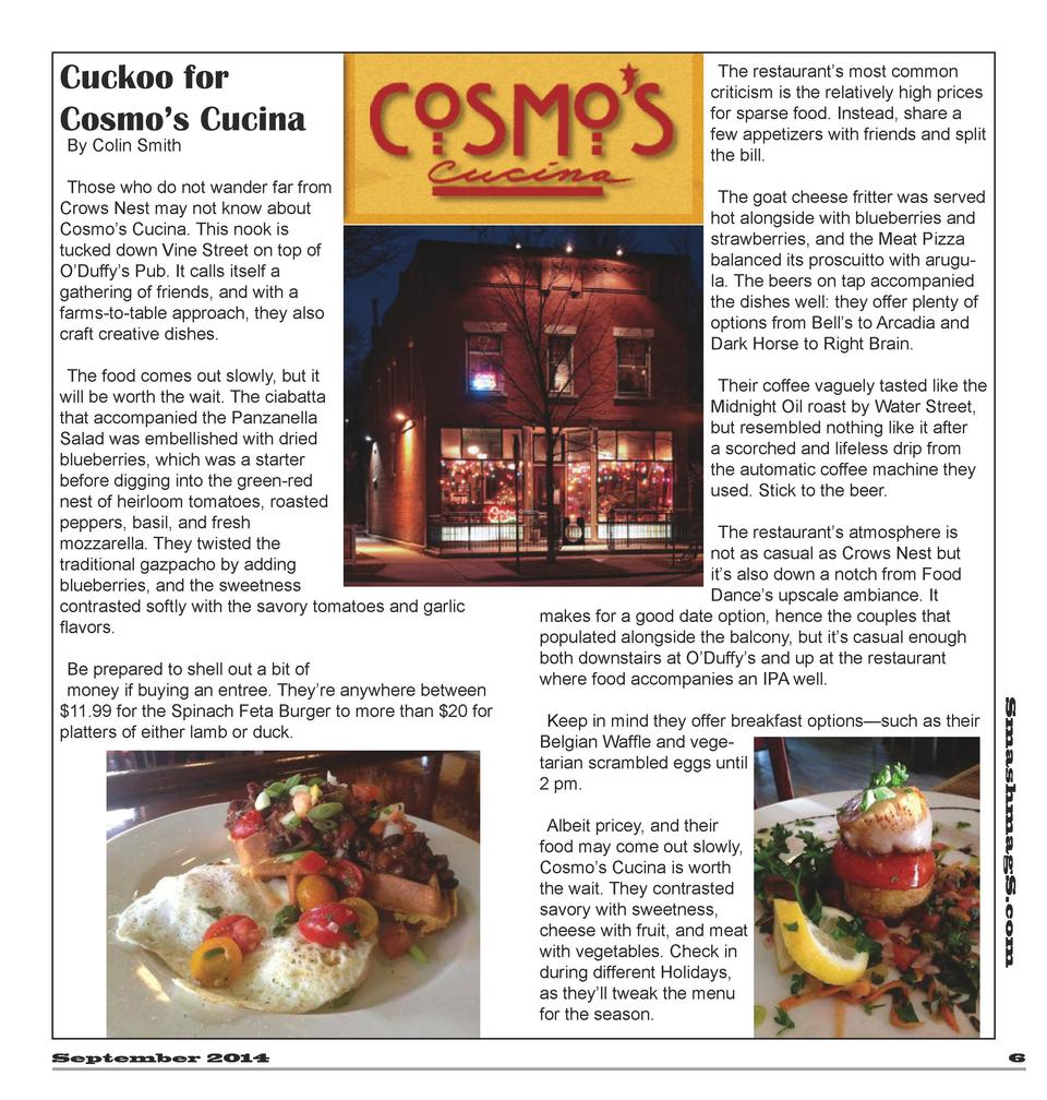 Cuckoo for Cosmo   s Cucina By Colin Smith  Those who do not wander far from Crows Nest may not know about Cosmo   s Cucin...
