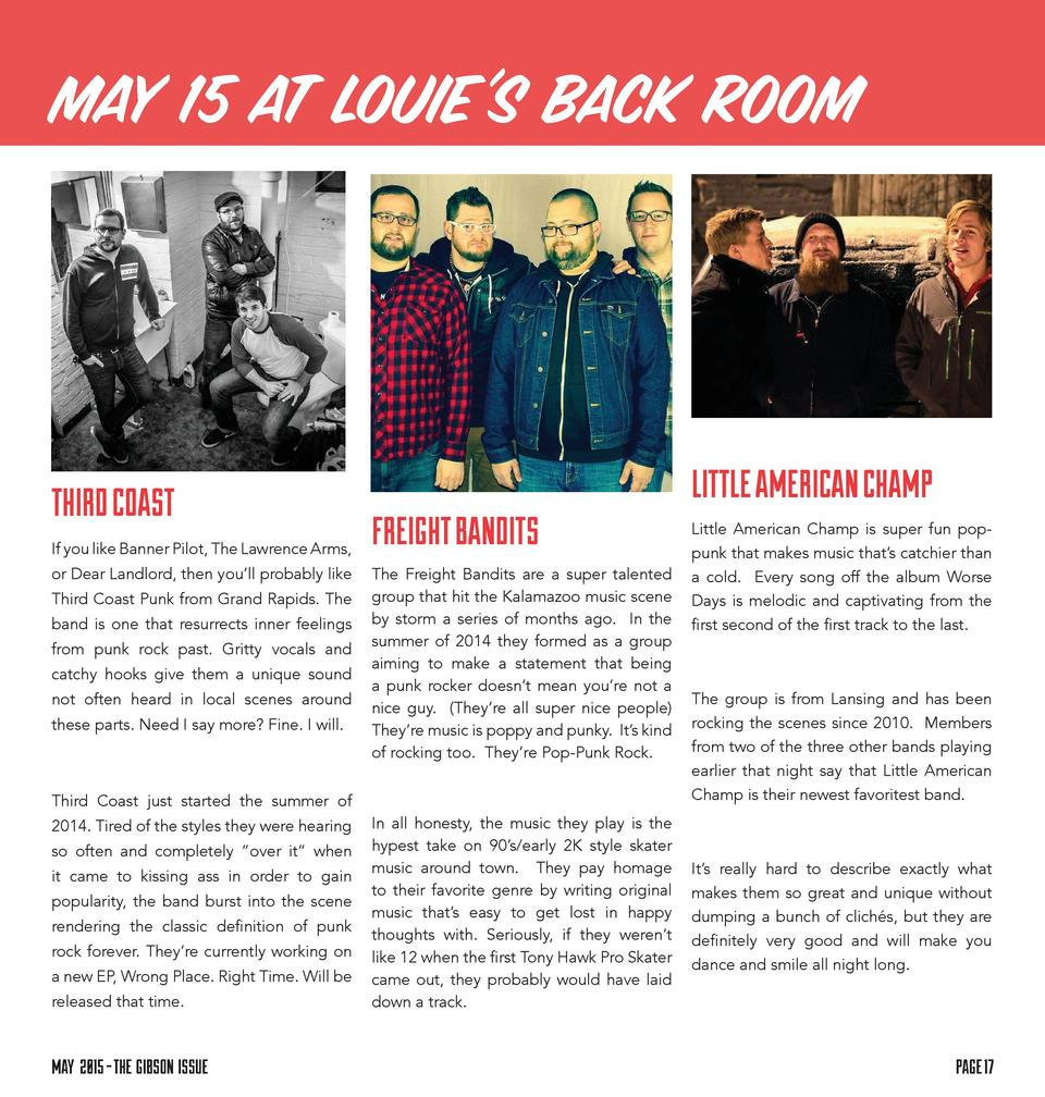 MAY 15 AT LOUIE   S BACK ROOM  THIRD COAST If you like Banner Pilot, The Lawrence Arms, or Dear Landlord, then you   ll pr...