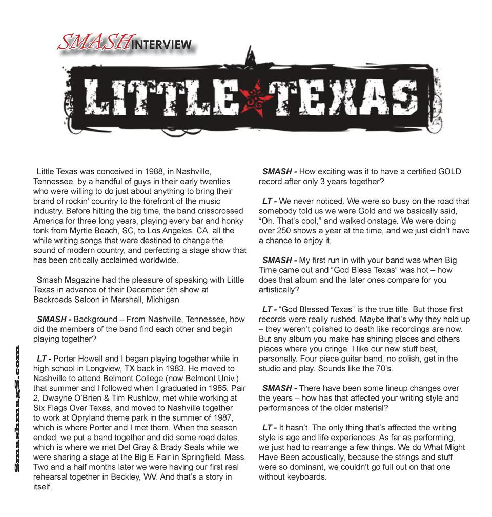 SMASHINTERVIEW  Little Texas was conceived in 1988, in Nashville, Tennessee, by a handful of guys in their early twenties ...