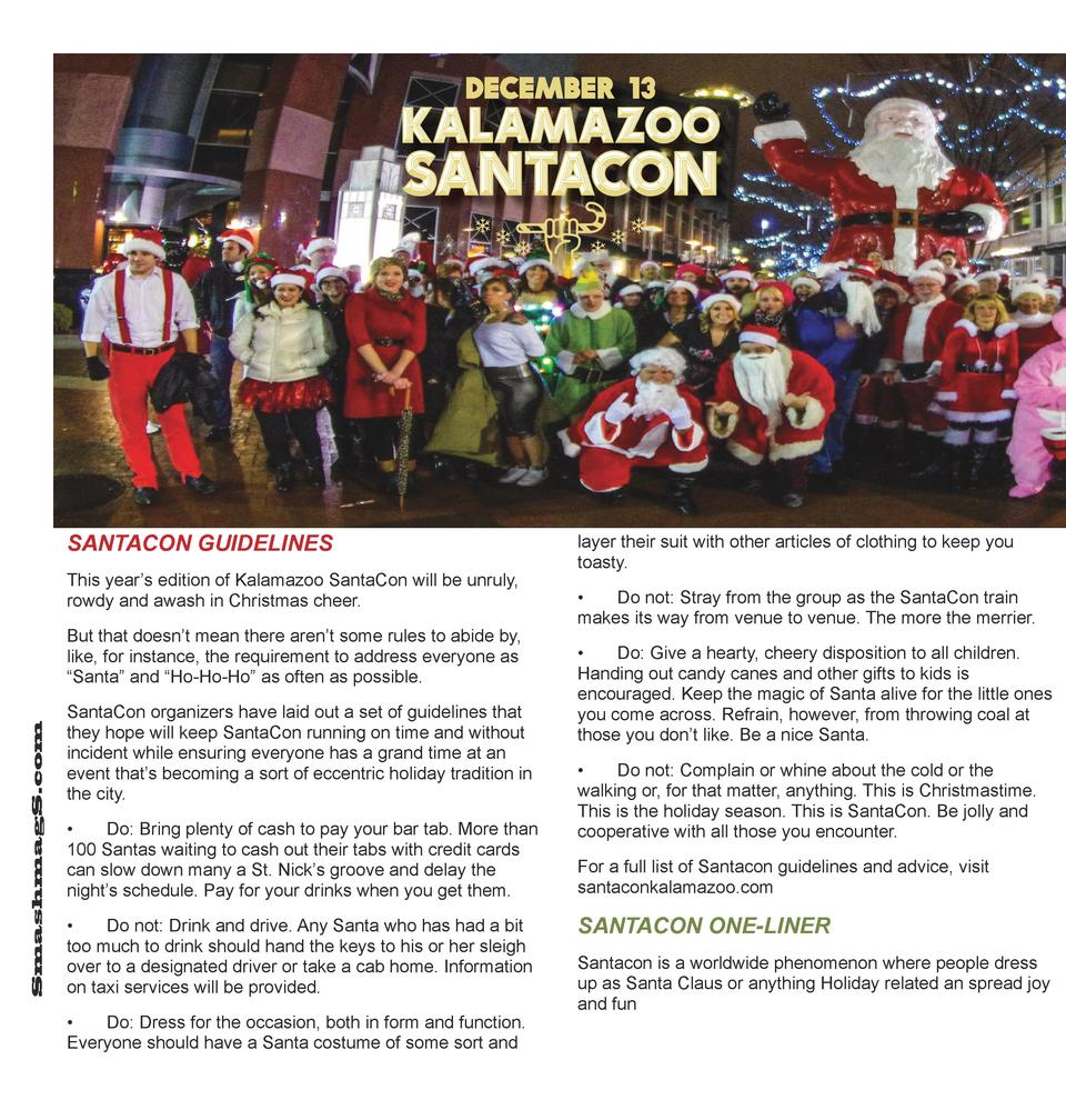 SANTACON GUIDELINES This year   s edition of Kalamazoo SantaCon will be unruly, rowdy and awash in Christmas cheer.  Smash...