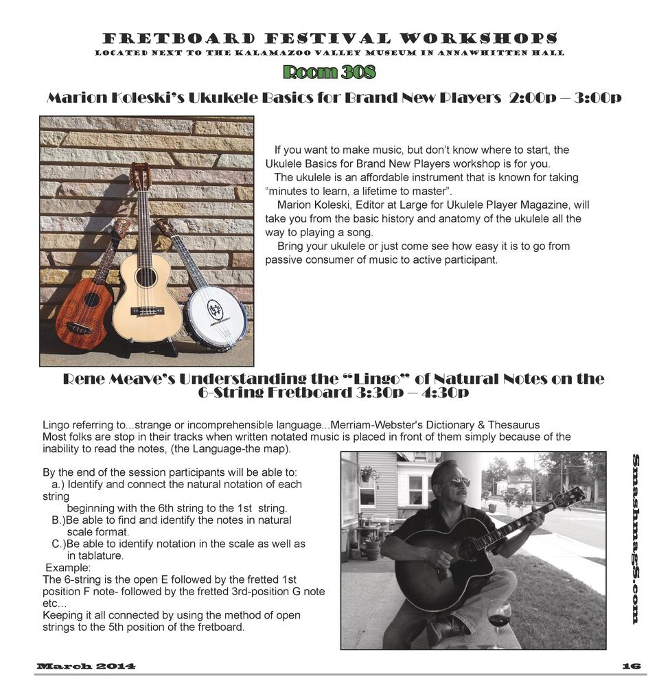 Fretboard Festival Workshops located next to the Kalamazoo Valley Museum in AnnaWhitten Hall  Room 308 Marion Koleski   s ...