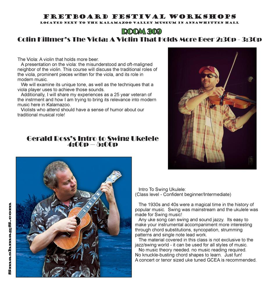 Fretboard Festival Workshops located next to the Kalamazoo Valley Museum in AnnaWhitten Hall  ROOM 309  Colin Killmer   s ...