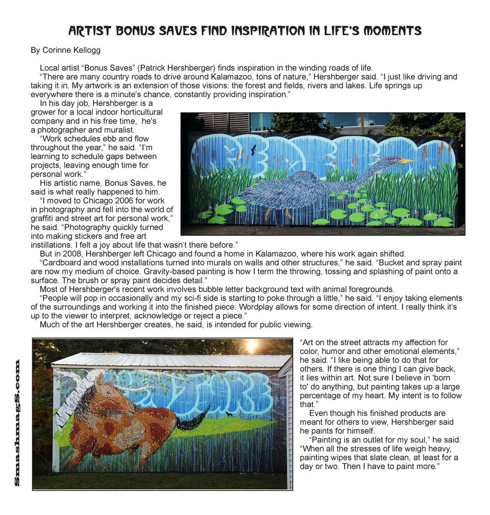 Artist Bonus Saves find inspiration in life s moments By Corinne Kellogg  SmashmagS.com  Local artist    Bonus Saves     P...
