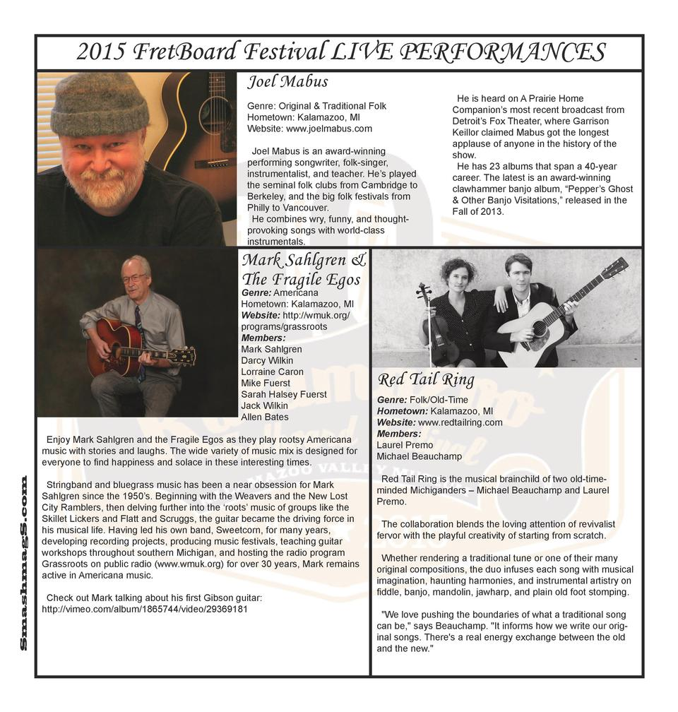 2015 FretBoard Festival LIVE PERFORMANCES Joel Mabus Genre  Original   Traditional Folk Hometown  Kalamazoo, MI Website  w...