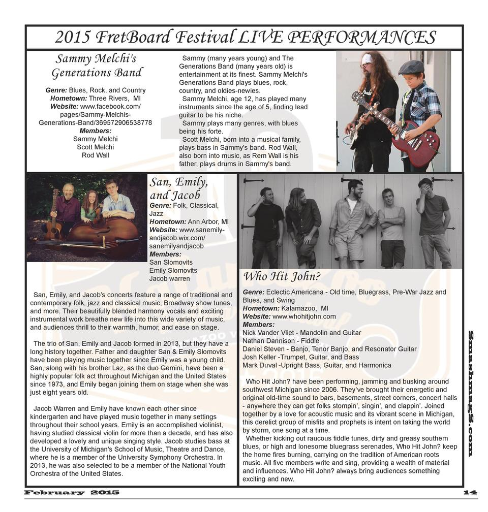 2015 FretBoard Festival LIVE PERFORMANCES Sammy Melchi s Generations Band Genre  Blues, Rock, and Country Hometown  Three ...