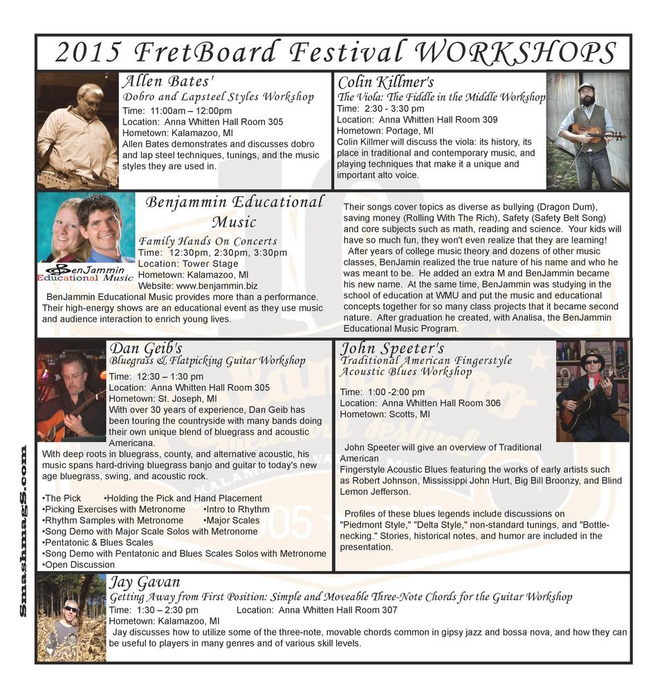 2015 FretBoard Festival WORKSHOPS Allen Bates   Colin Killmer s  Time  11 00am     12 00pm Location  Anna Whitten Hall Roo...