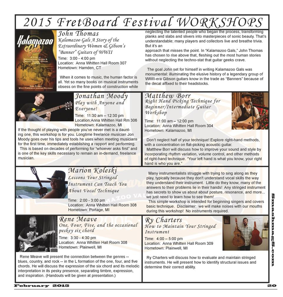 2015 FretBoard Festival WORKSHOPS John Thomas  Kalamazoo Gals A Story of the Extraordinary Women   Gibson   s    Banner   ...