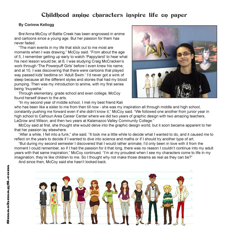 Childhood amine characters inspire life on paper By Corinne Kellogg  SmashmagS.com  Bre   Anna McCoy of Battle Creek has b...