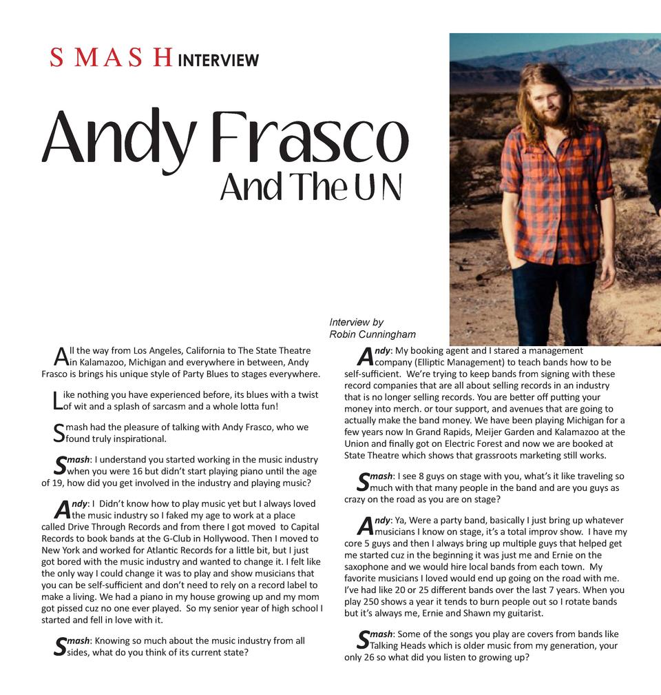 SMASHINTERVIEW  Andy Frasco And The U N  A  ll the way from Los Angeles, California to The State Theatre in Kalamazoo, Mic...