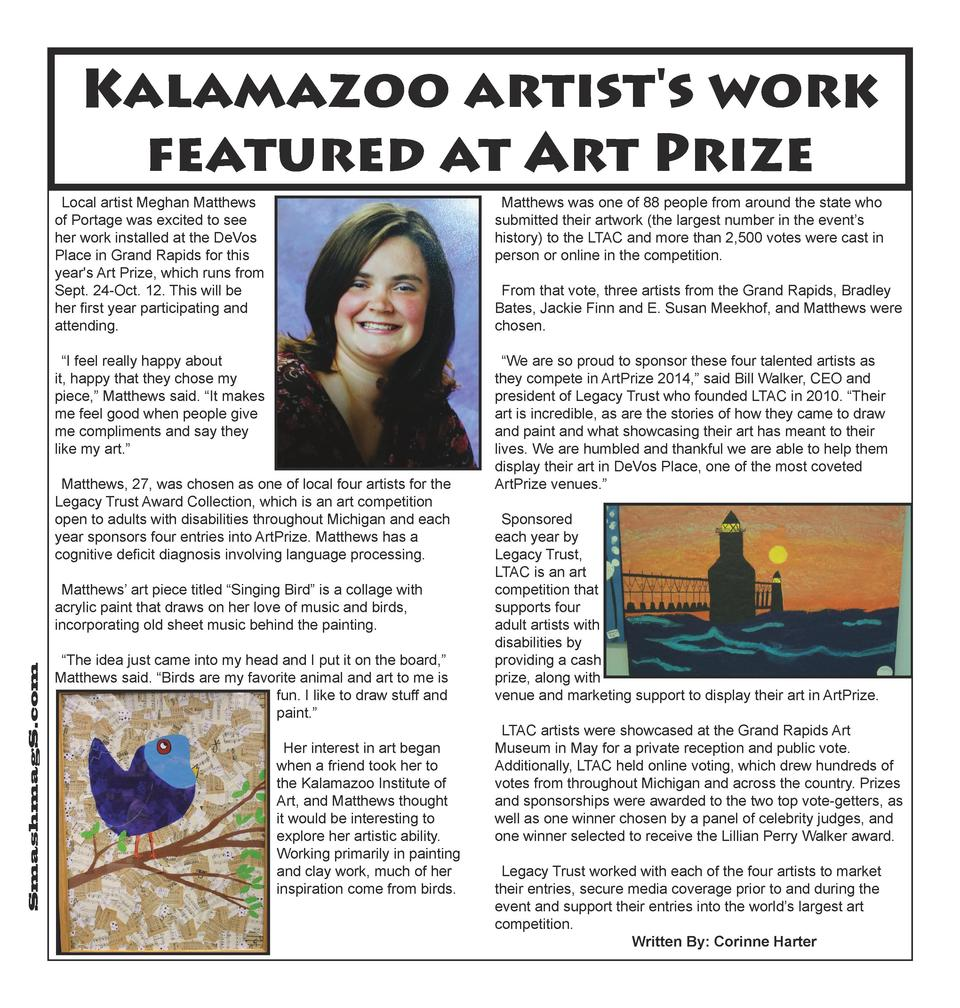 Kalamazoo artist s work featured at Art Prize Local artist Meghan Matthews of Portage was excited to see her work installe...