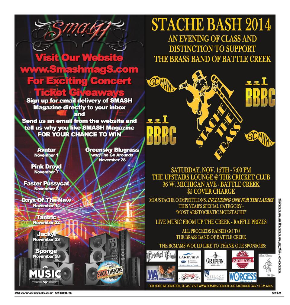STACHE BASH 2014  AN EVENING OF CLASS AND DISTINCTION TO SUPPORT THE BRASS BAND OF BATTLE CREEK  SATURDAY, NOV. 15TH - 7 0...