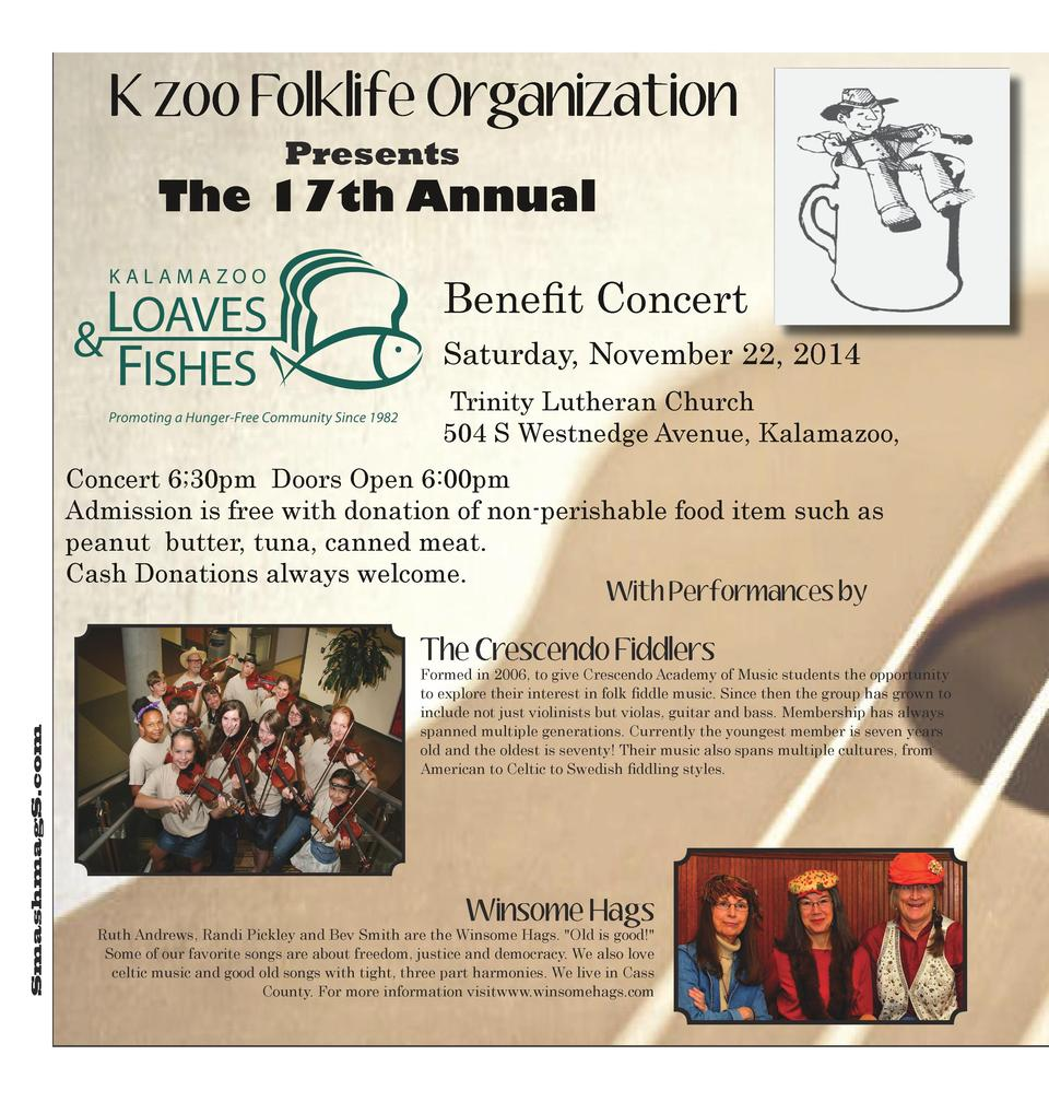 K zoo Folklife Organization Presents  The 17th Annual Benefit Concert Saturday, November 22, 2014 Trinity Lutheran Church ...