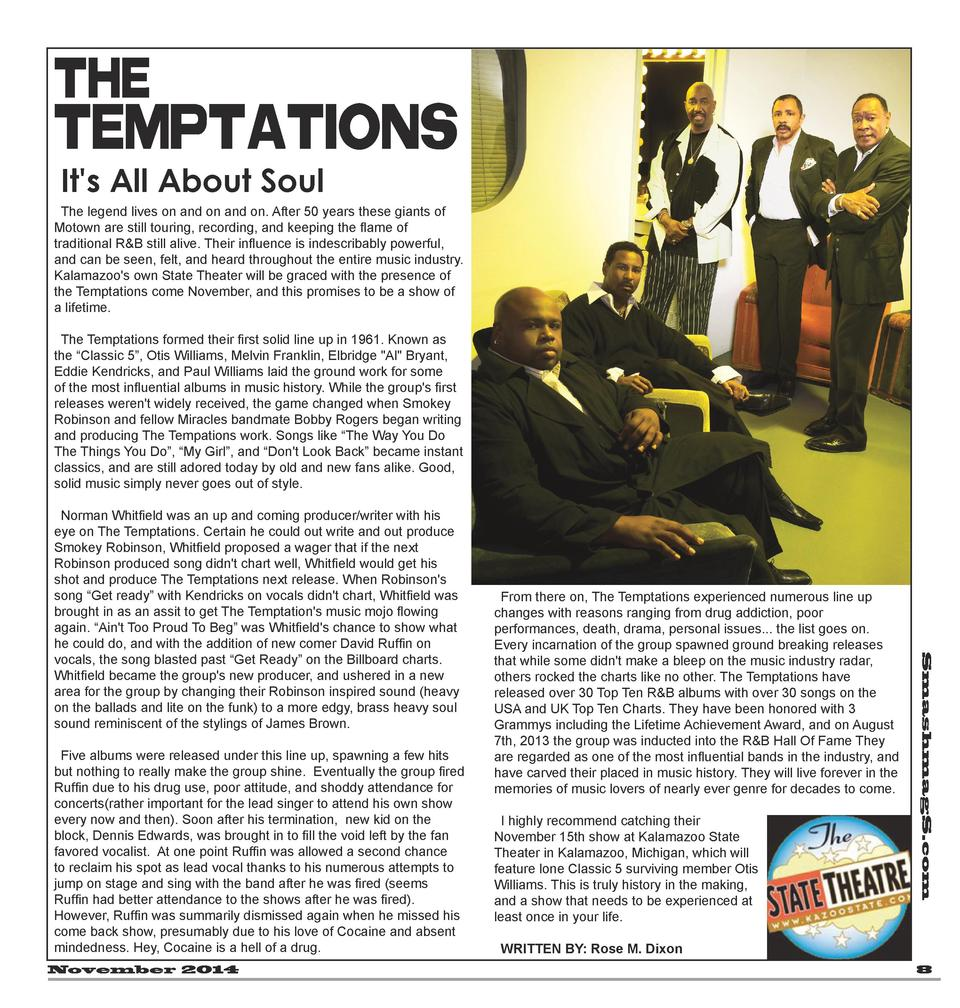 THE  Temptations It s All About Soul  The legend lives on and on and on. After 50 years these giants of Motown are still t...