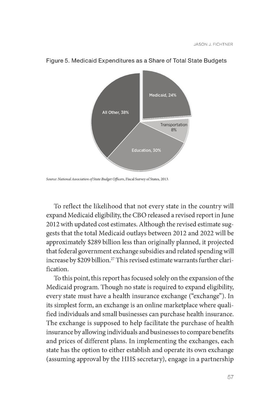 JASON J. FICHTNER  Figure 5. Medicaid Expenditures as a Share of Total State Budgets  Medicaid, 24   All Other, 38  Transp...