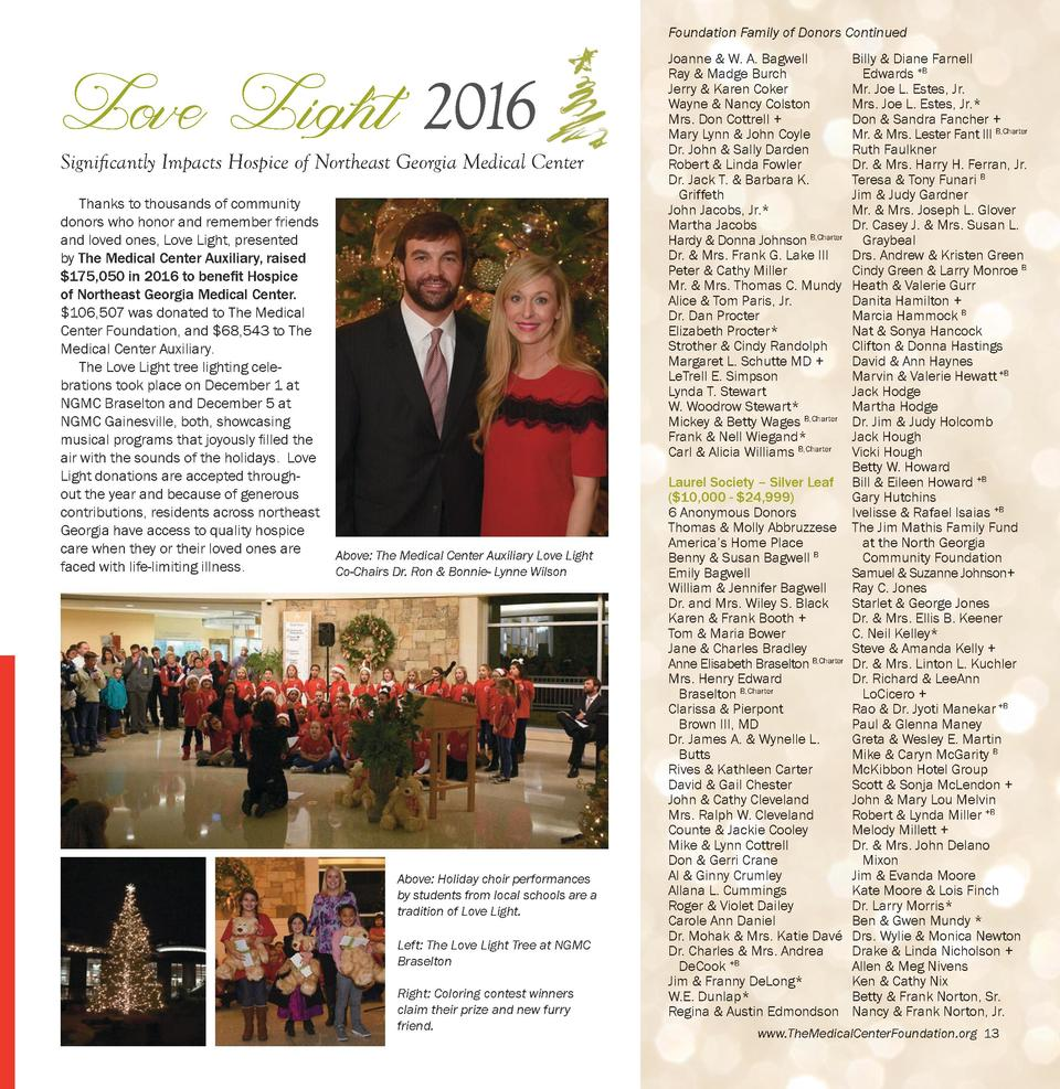 Foundation Family of Donors Continued  Love Light 2016  Significantly Impacts Hospice of Northeast Georgia Medical Center ...