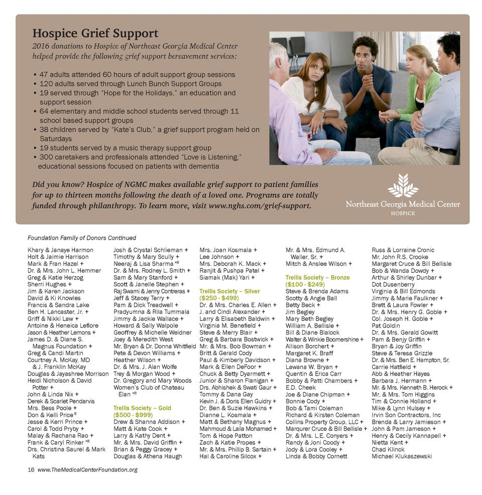 Hospice Grief Support  2016 donations to Hospice of Northeast Georgia Medical Center helped provide the following grief su...
