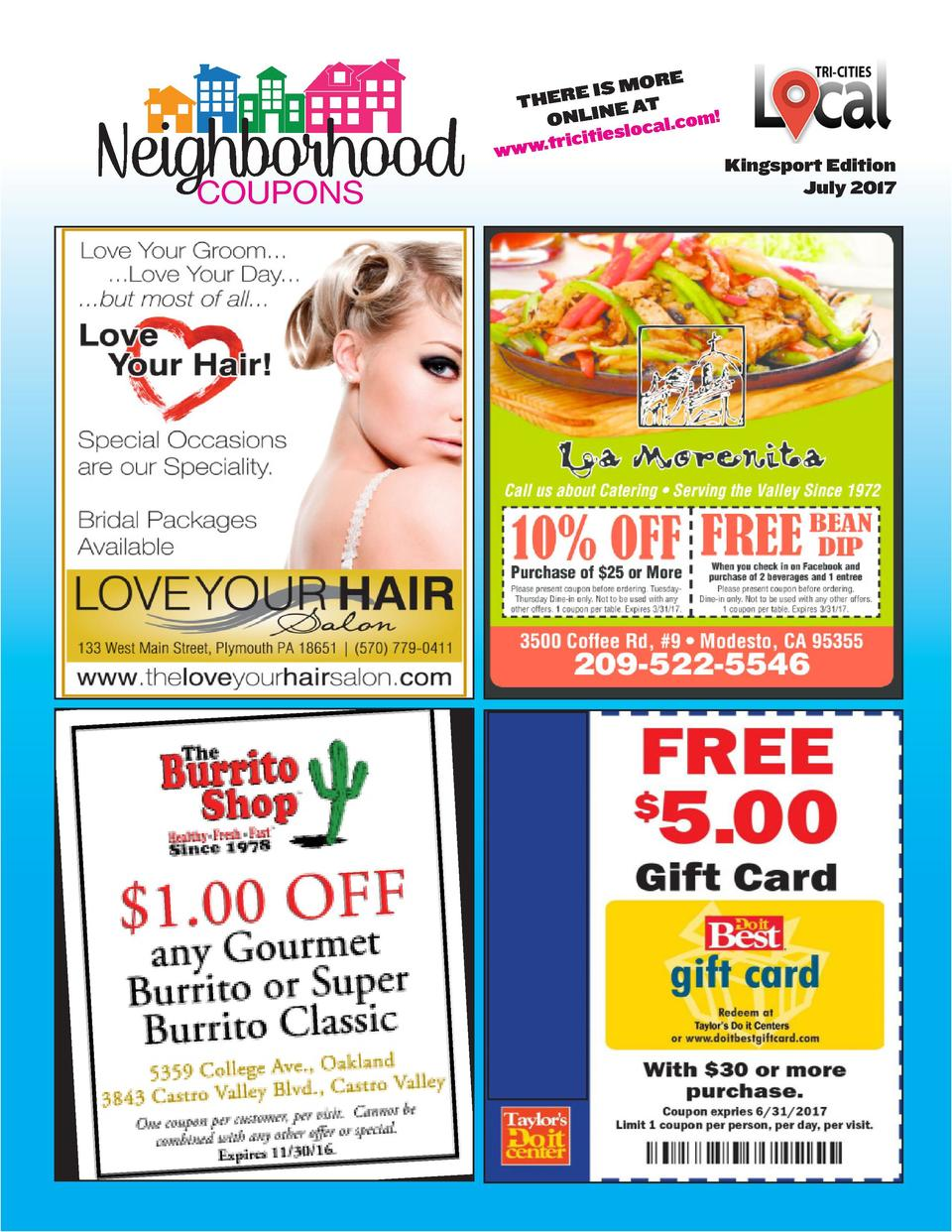 RE IS MO E R E TH E AT ONLIN cal.com  lo ricities .t w w w  COUPONS  Kingsport Edition July 2017