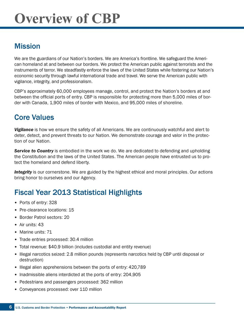 Overview of CBP Mission We are the guardians of our Nation   s borders. We are America   s frontline. We safeguard the Ame...