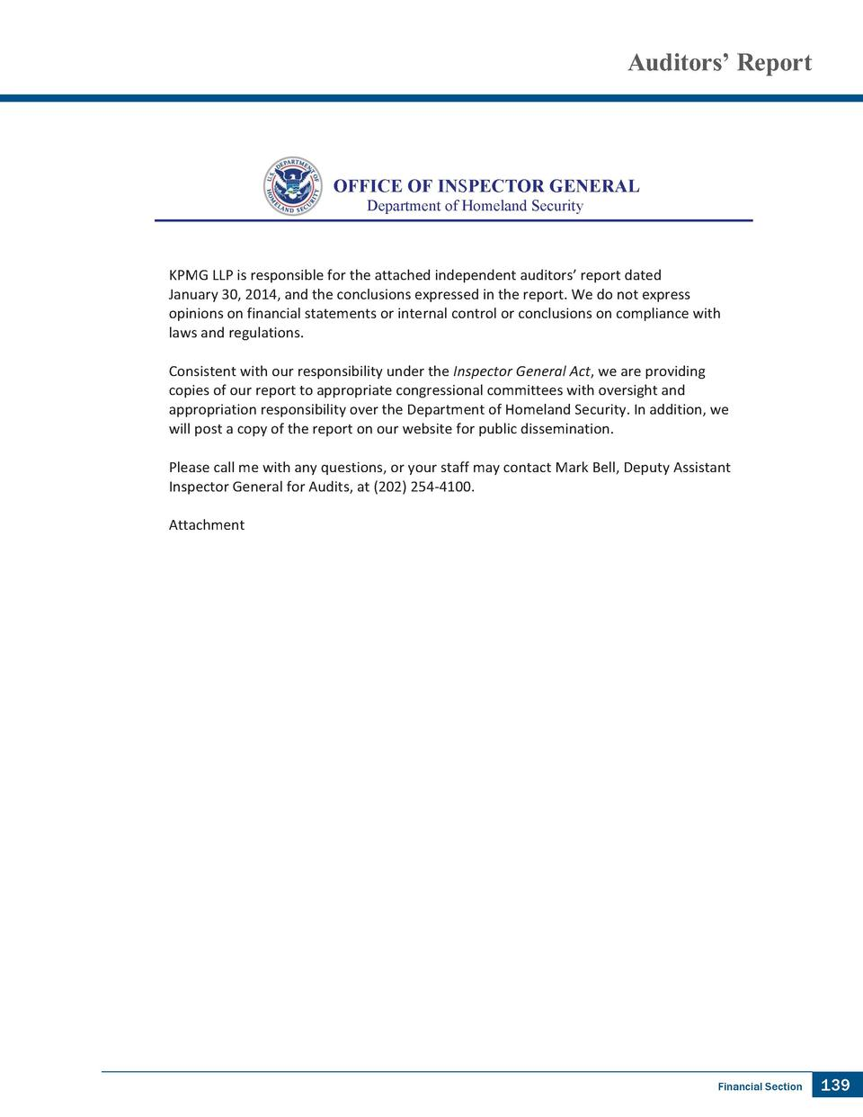 Auditors    Report  OFFICE OF INSPECTOR GENERAL Department of Homeland Security  KPMG LLP is responsible for the attached ...