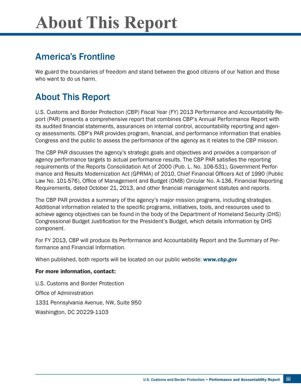About This Report America   s Frontline We guard the boundaries of freedom and stand between the good citizens of our Nati...