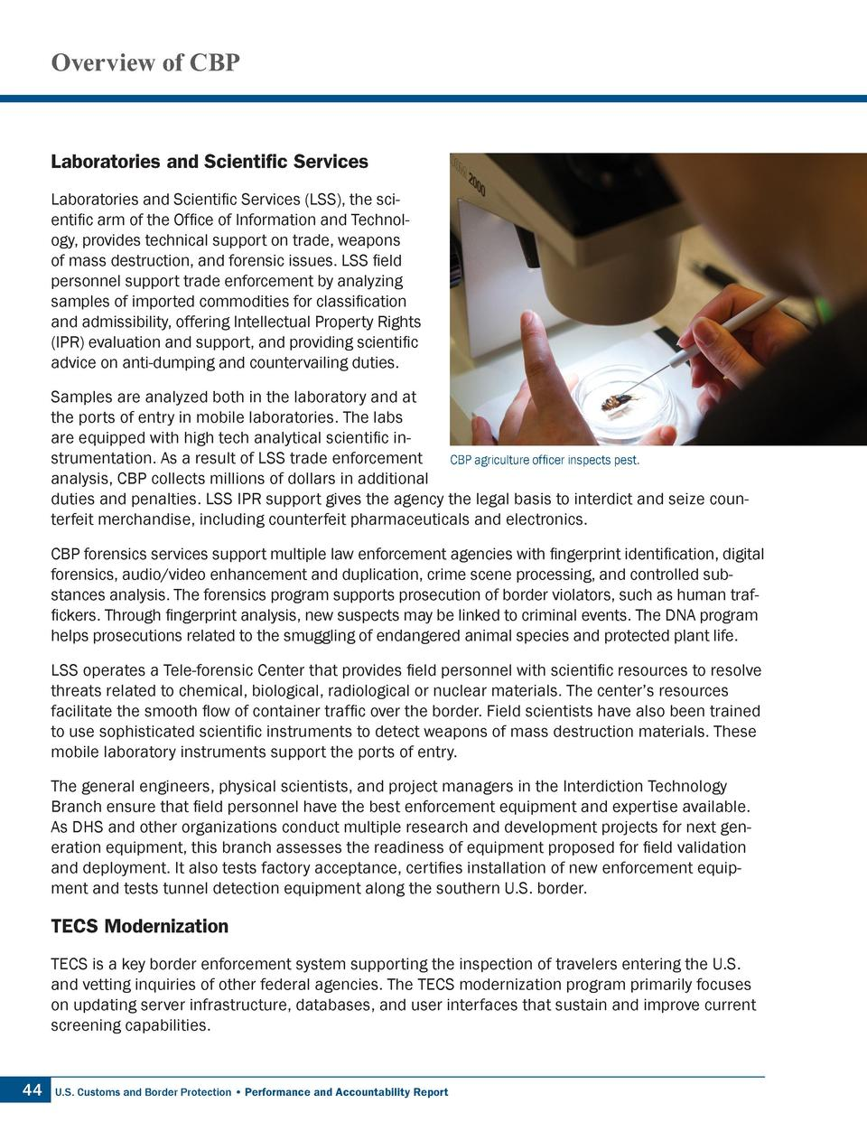 Overview of CBP  Laboratories and Scientific Services Laboratories and Scientific Services  LSS , the scientific arm of th...