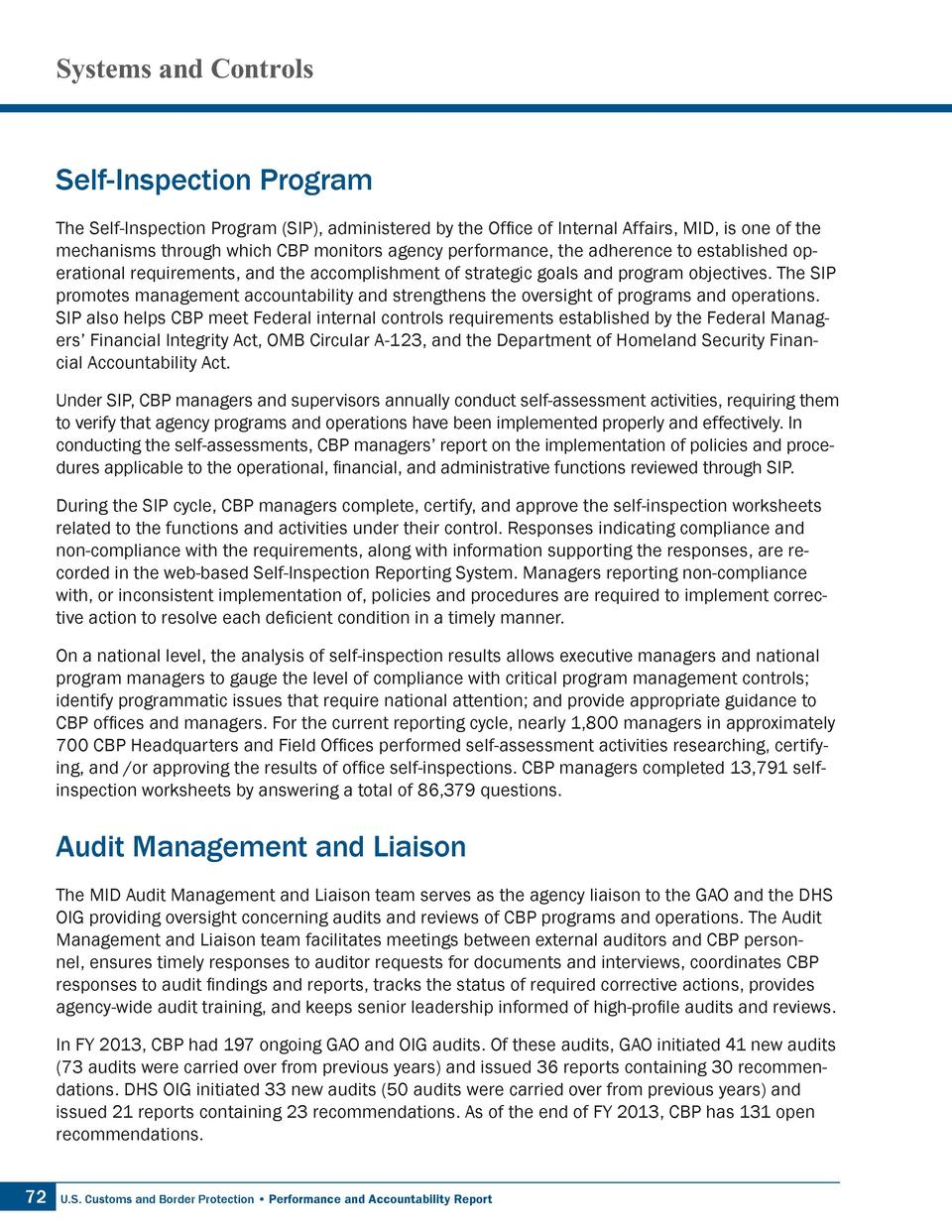 Systems and Controls  Self-Inspection Program The Self-Inspection Program  SIP , administered by the Office of Internal Af...