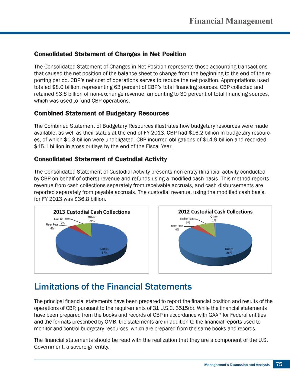 Financial Management  Consolidated Statement of Changes in Net Position The Consolidated Statement of Changes in Net Posit...