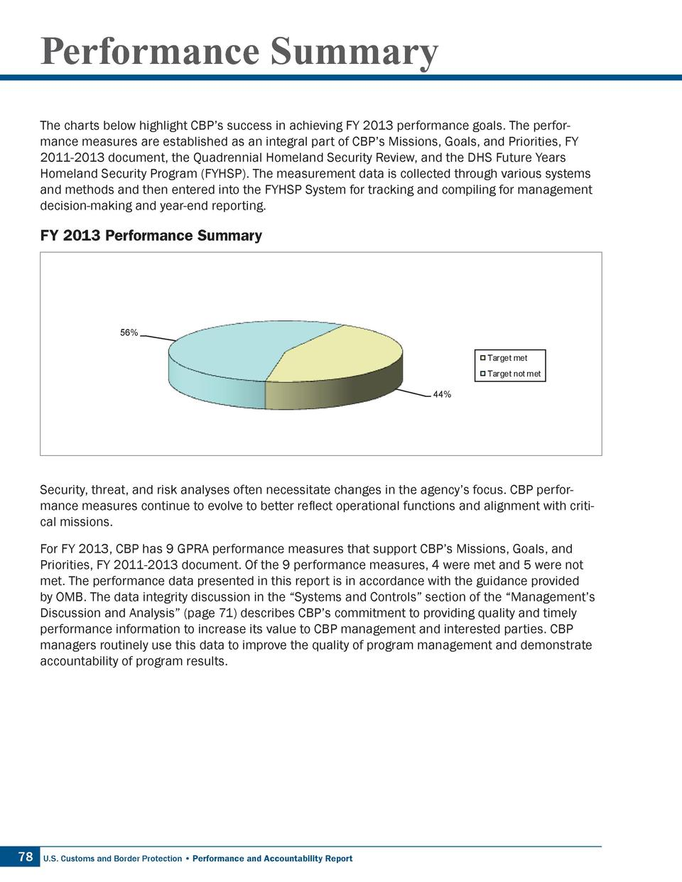 Performance Summary The charts below highlight CBP   s success in achieving FY 2013 performance goals. The performance mea...