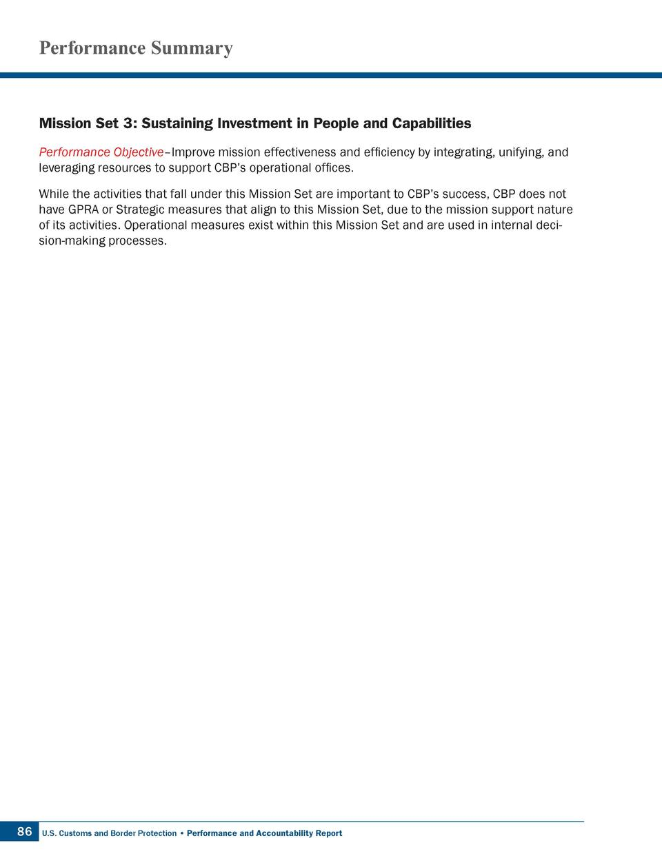 Performance Summary  Mission Set 3  Sustaining Investment in People and Capabilities Performance Objective   Improve missi...