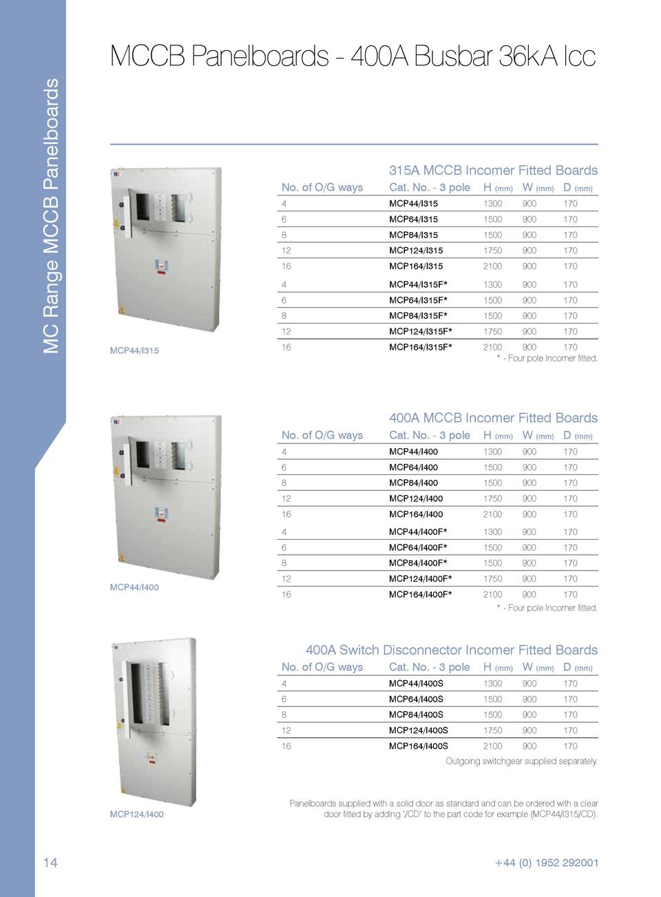 MC Range MCCB Panelboards  MCCB Panelboards - 400A Busbar 36kA Icc  315A MCCB Incomer Fitted Boards No. of O G ways  H  mm...