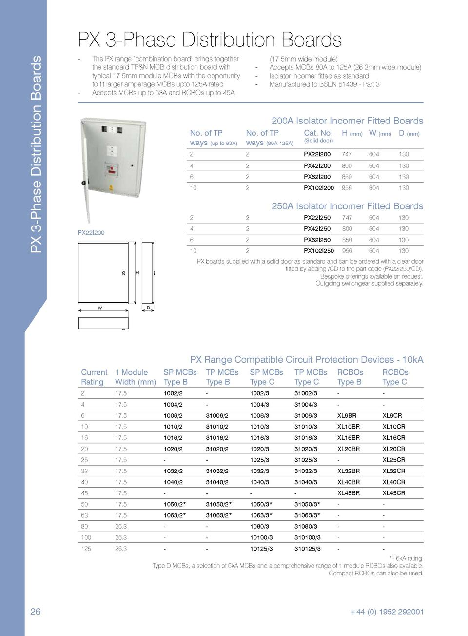 PX 3-Phase Distribution Boards  PX 3-Phase Distribution Boards --  --  The PX range    combination board    brings togethe...