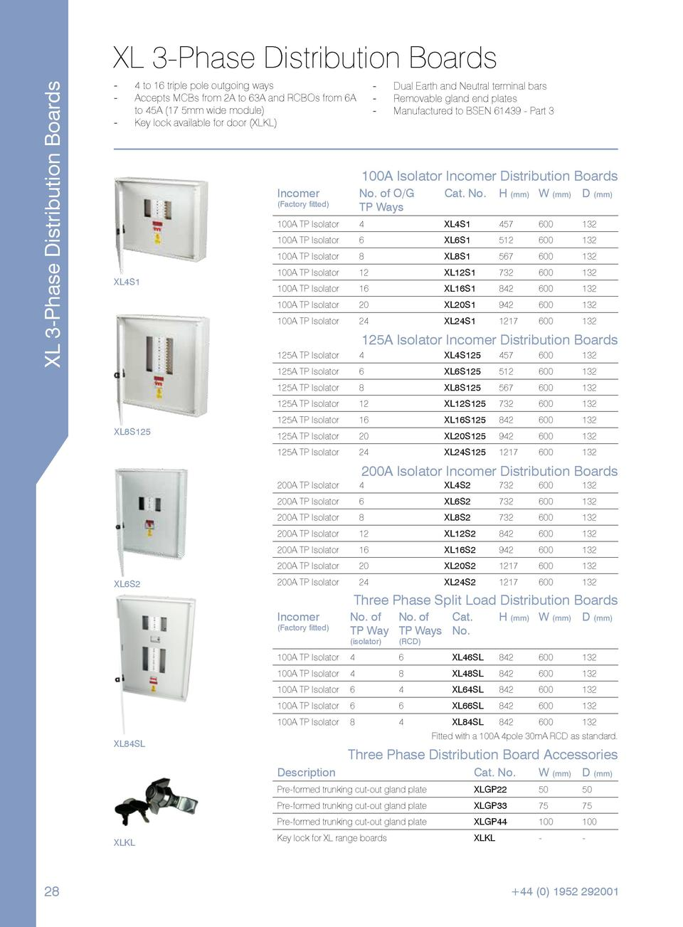 XL 3-Phase Distribution Boards  XL 3-Phase Distribution Boards ----  ----  4 to 16 triple pole outgoing ways. Accepts MCBs...
