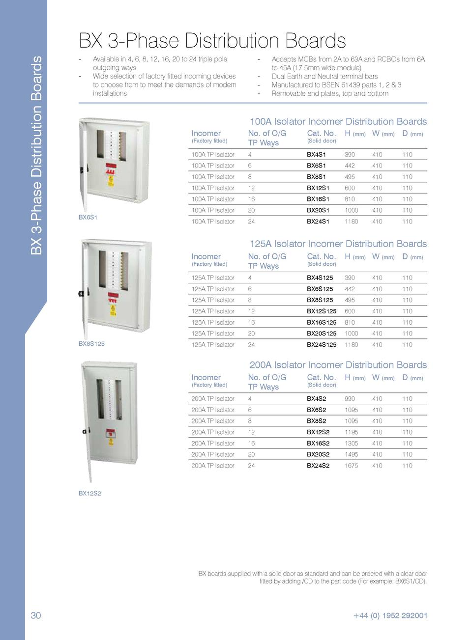 BX 3-Phase Distribution Boards  BX 3-Phase Distribution Boards ---  --  Available in 4, 6, 8, 12, 16, 20 to 24 triple pole...
