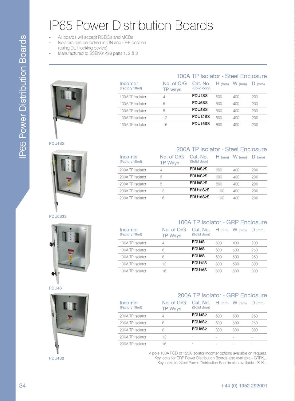 IP65 Power Distribution Boards  IP65 Power Distribution Boards ----  All boards will accept RCBOs and MCBs. Isolators can ...