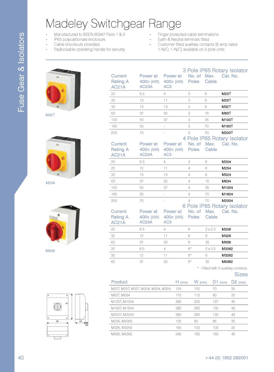 Fuse Gear   Isolators  Madeley Switchgear Range -----  ----  Manufactured to BSEN 60947 Parts 1   3. IP65 polycarbonate en...