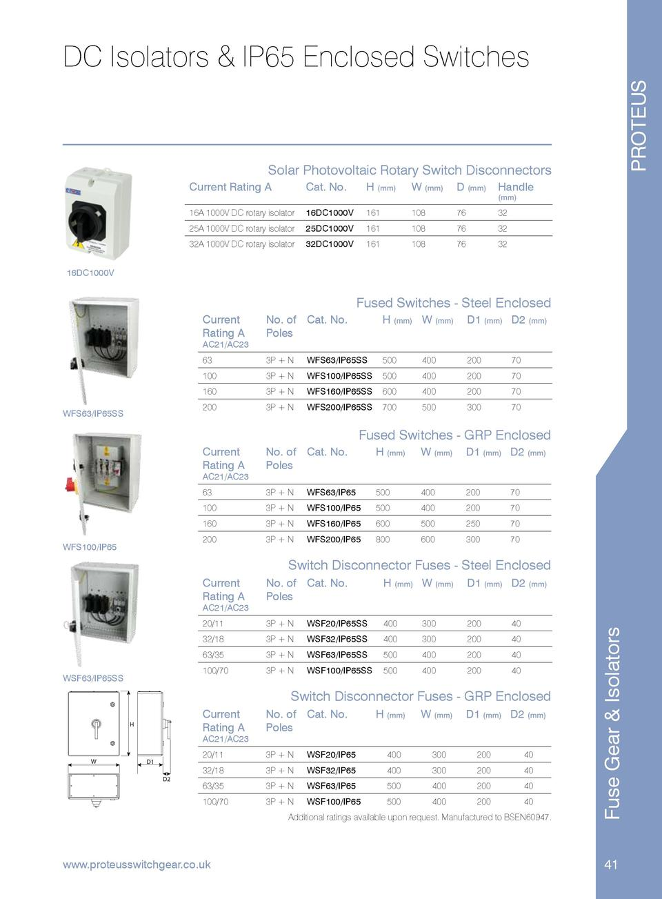 PROTEUS  DC Isolators   IP65 Enclosed Switches  Solar Photovoltaic Rotary Switch Disconnectors Current Rating A  Cat. No. ...