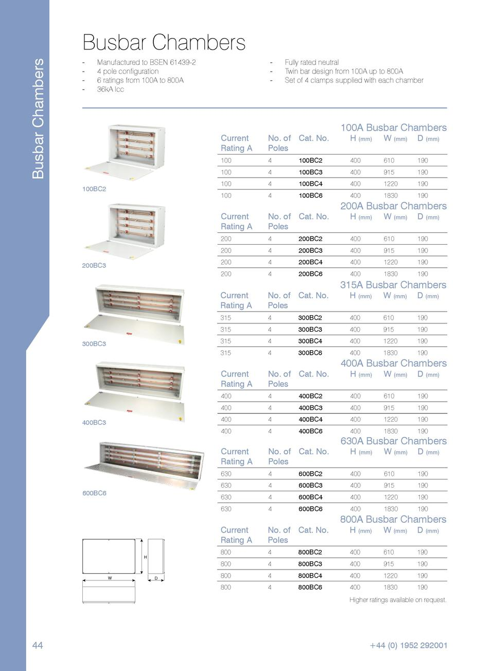 Busbar Chambers  Busbar Chambers -----  ----  Manufactured to BSEN 61439-2. 4 pole configuration. 6 ratings from 100A to 8...