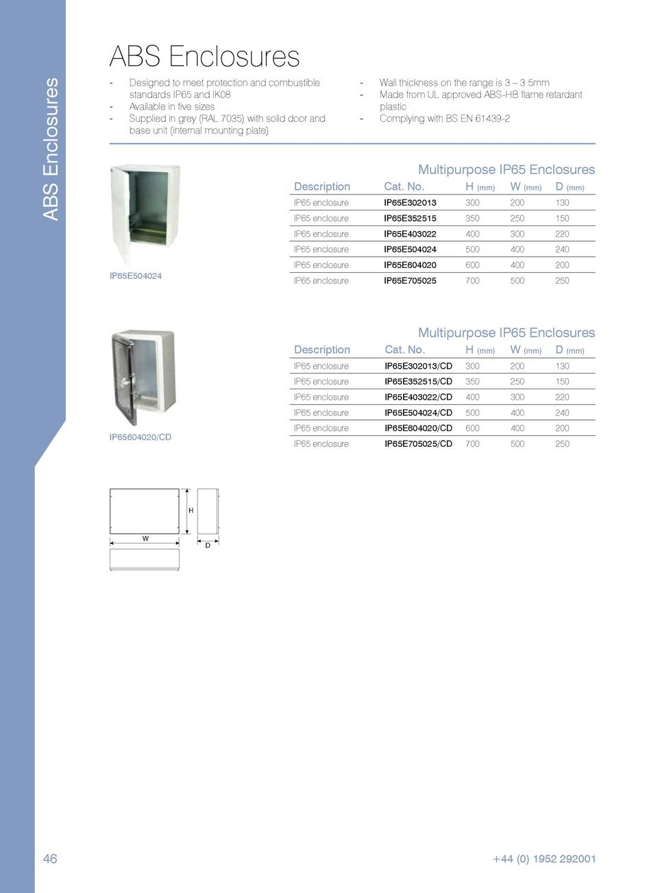 ABS Enclosures  ABS Enclosures ----  Designed to meet protection and combustible standards IP65 and IK08. Available in fiv...