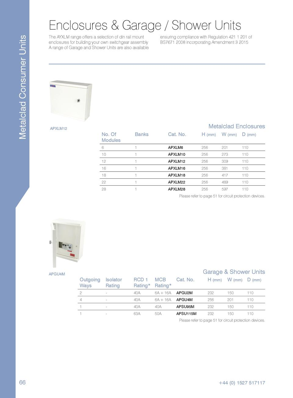 Metalclad Consumer Units  Enclosures   Garage   Shower Units The AYXLM range offers a selection of din rail mount enclosur...
