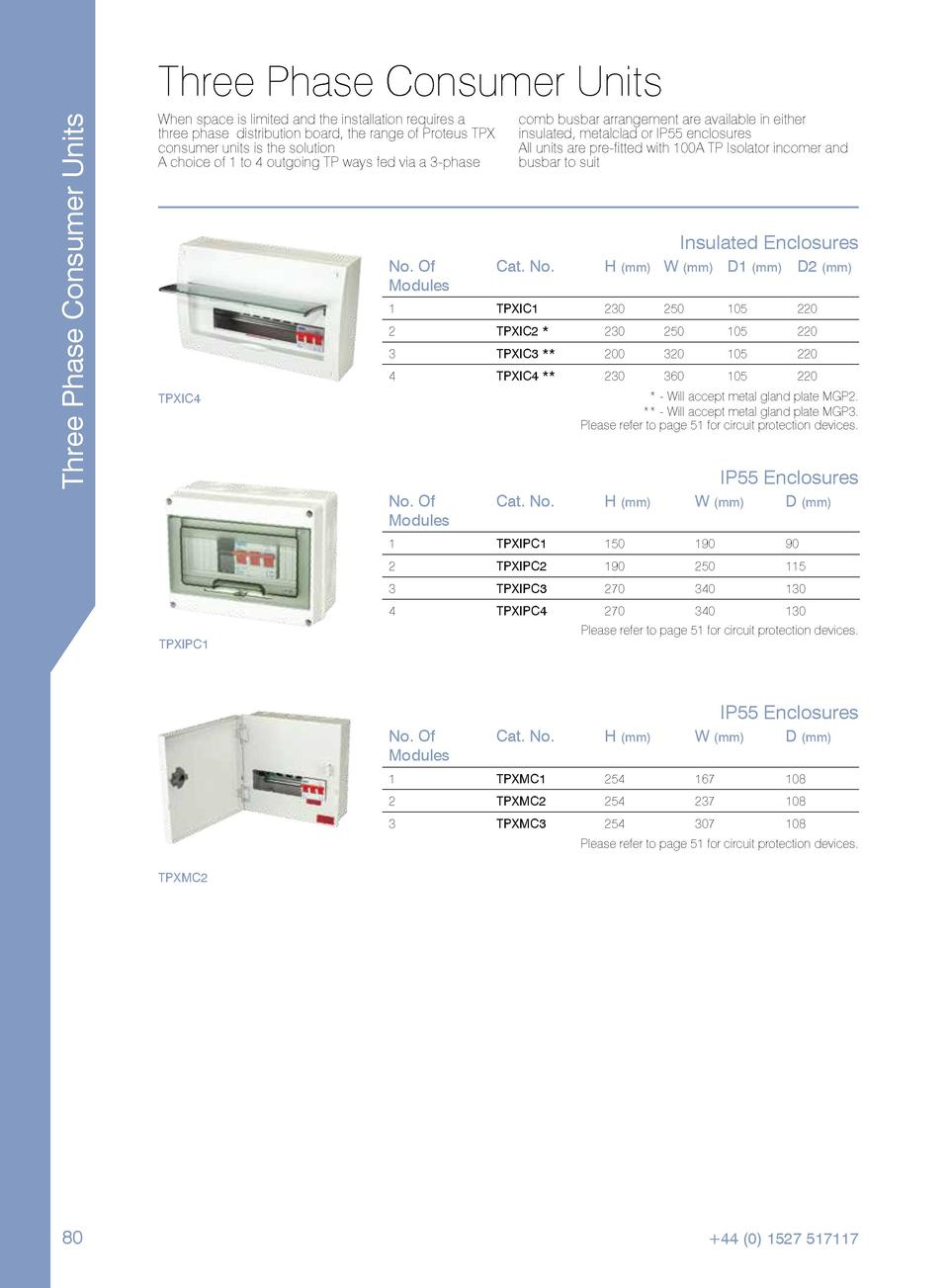 Three Phase Consumer Units  Three Phase Consumer Units When space is limited and the installation requires a three phase d...