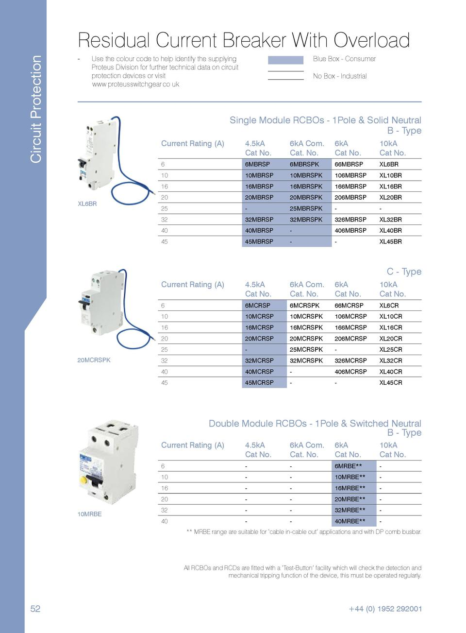 Circuit Protection  Residual Current Breaker With Overload --  Use the colour code to help identify the supplying Proteus ...