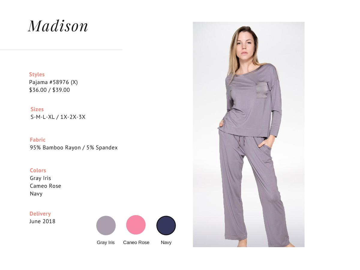 Madison Styles Pajama  58976  X   36.00    39.00 Sizes S-M-L-XL   1X-2X-3X  Fabric 95  Bamboo Rayon   5  Spandex    Colors...