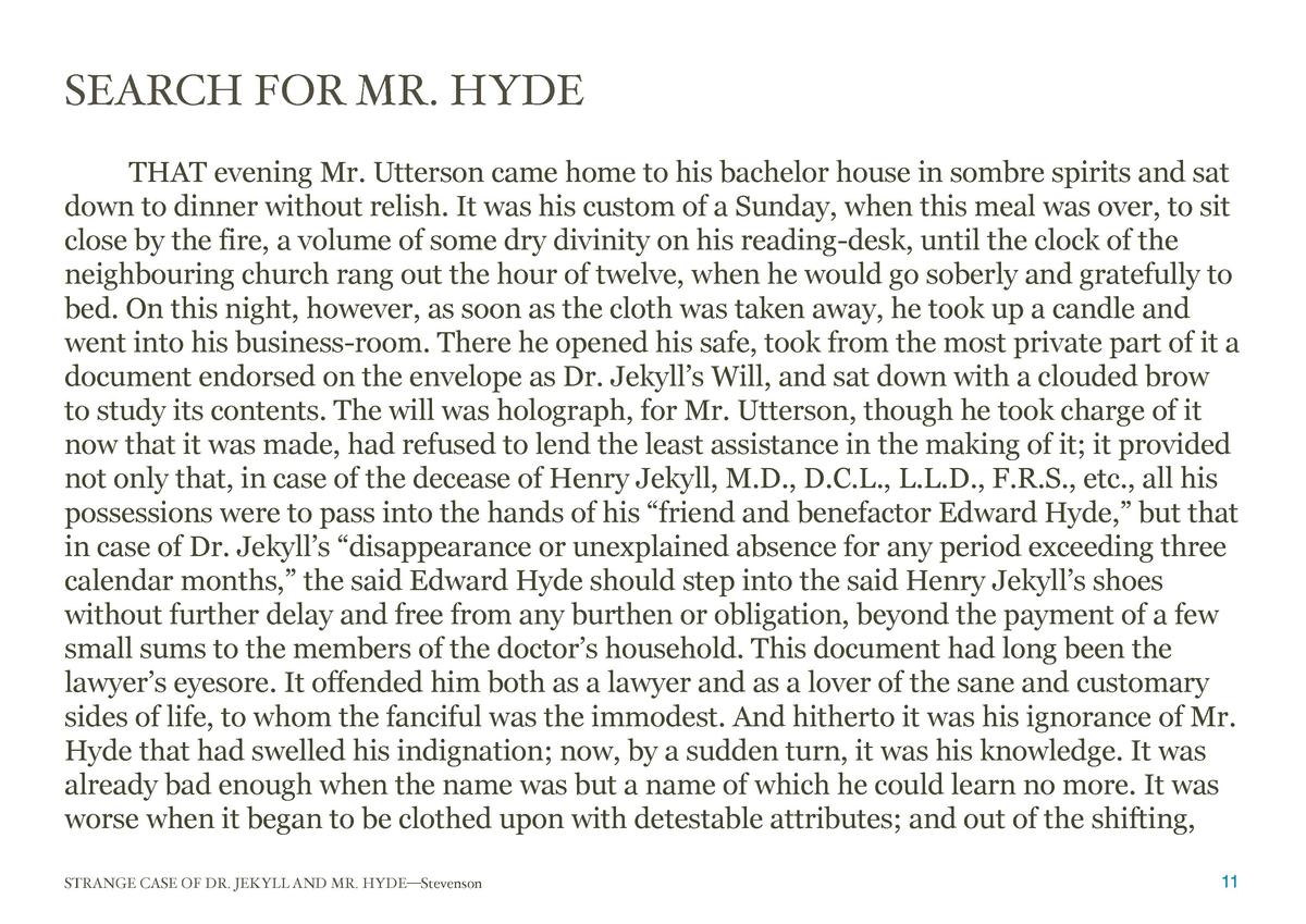 SEARCH FOR MR. HYDE  THAT evening Mr. Utterson came home to his bachelor house in sombre spirits and sat down to dinner wi...